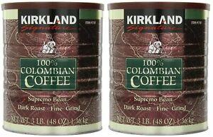 2 PACK  KIRKLAND SIGNATURE 100% COLOMBIAN COFFEE, DARK ROAST, 3 LBS EACH