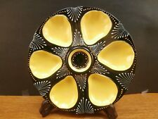 S VINTAGE OYSTER PLATE FRANCE FAIENCE MAJOLICA  6 WELLS  EX COND GREEN