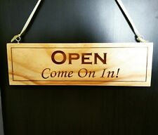 Open / Closed Personalised Rustic - Wooden sign - double sided plaque shop sign
