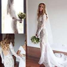 Sexy Wedding Dresses Long Sleeves Illusion Back Plus Size 0 4 6 8 10 12 14 16 18