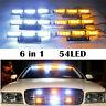 54 LEDs Emergency Warning Strobe Light Bar Deck Dash Grill Visor Top Amber/White