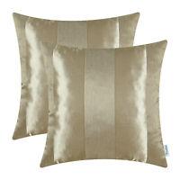 2Pcs Amber Gold Pillow Cover Case Reversible Jacquard Striped Sofa Decor 45x45cm