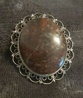 Vintage Scottish Jewellery Celtic Green Moss Agate Brooch Pin