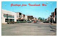 1960s/70s Greetings from Tomahawk WI Street Scene Ben Franklin, Gambles Postcard