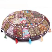 Indian Dark Brown Round Floor Pillow Patchwork Khambadiya Bohemian Floor Cushion