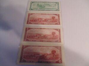 (4) 1954 $2 &$1  CONSECUTIVE $2 WILL GRADE HIGH
