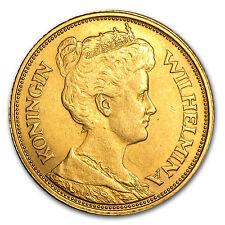 1912 Netherlands Gold 5 Guilders Wilhelmina Avg Circ