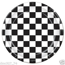 """8 RACING Nascar Alice In Wonderland BLACK WHITE CHECKERED Party Dinner PLATES 9"""""""