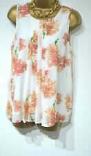 VERO MODA Tunic Blouse Top Size M Smart Casual Loose fit White Floral approx 12