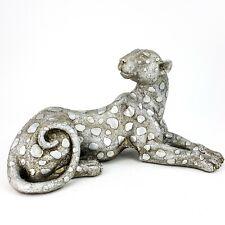 """Silver Metallic Cheetah Leopard 12"""" Figurine Laying Safari Jungle Animal"""