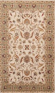 Oriental Floral Traditional Area Rug Hand-Tufted Wool Ivory New Carpet 5x8 ft