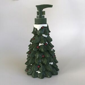 """Christmas Tree Soap/ Lotion Dispenser for Kitchen/Bath Green Top 7"""" Tall Resin"""