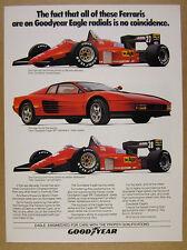 1985 Ferrari Testarossa & F1 Race Cars photo Goodyear Tires vintage print Ad
