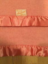 VTG EDMOND MILL SLUMBEREST BLANKET 76x84 Wool Blend Pinky Peach Satin Edge