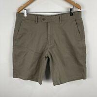 Gazman Mens Chino Shorts 36 Khaki Brown Stretch Pockets