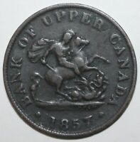 Canadian ½ Penny 1857 KM# Tn2 Bank of Upper Canada Token PC-5D One Half 1/2