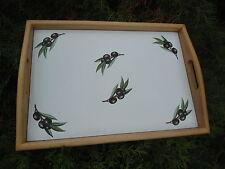 PLATEAU PETIT DEJEUNER BOIS MASSIF + EMAIL  45 X 32 cm NEUF HAUT DE GAMME OLIVES