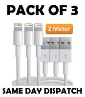 3X Extra Long 2M USB LEAD SYNC DATA CABLE CHARGER FOR iPhone 7 6 PLUS 8 X iPad