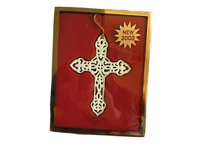 LENOX Ornament Pierced Cross Porcelain with 24 Kt Gold Trim 2003 *NIB* ~VHTF~