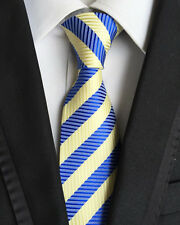 New Striped Classic Blue Yellow JACQUARD WOVEN 100% Silk Men's Tie Necktie NW32