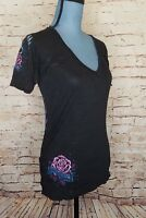 SINFUL by AFFLICTION Black Wrinkled Crown Wings T-Shirt sz l  xs s m New Women