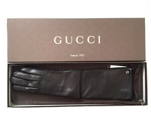 Authentic GUCCI Leather Long Gloves Tg. 8   New With Tags