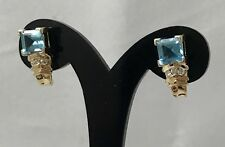 Natural Blue Topaz & Diamond Accent 14K Yellow Gold Earrings