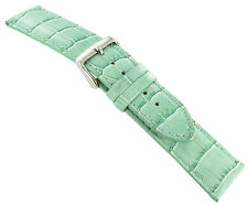 22mm deBeer Baby Crocodile Grain Light Mint Green Padded Stitched Watch Band Reg
