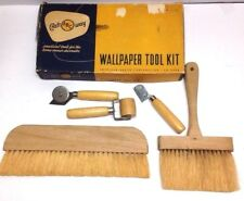 Vintage Craftway ABC Wallpaper Tool Kit 5pc Brushes & Roller W/ Box 1940-50's