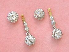 ANTIQUE 1.90ctw DIAMOND STUD CONVERTS TO DANGLE COCKTAIL EARRINGS 1930 RARE