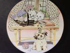 1989 Royal Worcester Mixed Company TWO AGAINST ONE Ltd Ed Plate Cat & Dog