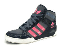 Adidas High Top Shoes Womens 7 Pink Black Grey Trefoil Sneakers