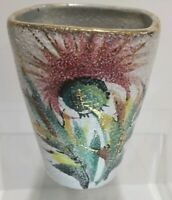 """Vtg Italy pottery vase flower thistle 6"""" MCM abstract textured hand painted gold"""