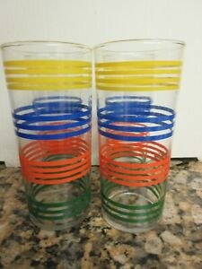 4 Vtg Libbey Anchor Hocking? Glass Stripe Tumblers Blue Red Yellow Green 16 oz
