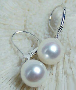 New 10mm White Shell Pearl White Gold Plated Leverback Hook Earrings Fashion
