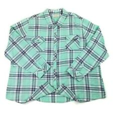 NorthCrest Outdoor Green Plaid Button Front Long Sleeve Top Womens 4X