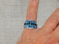 LONDON BLUE TOPAZ,SWISS BLUE TOPAZ&NATURAL CAMBODIAN ZIRCON RING-SIZE J-6.554CTS