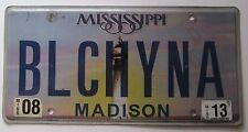 Mississippi AUGUST 2013 VANITY License Plate BLUE CHINA