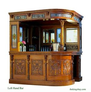Sports or Coffee Corner Bar with Real Tiffany Glass and Mirrors Left Hand