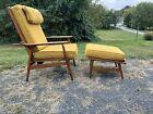 Vintage mid century modern walnut lounge chair   stool original