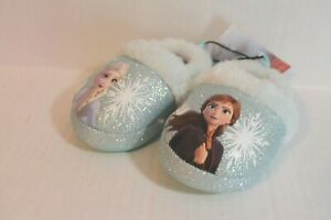 Toddler Girl Size S 5-6 Blue Disney Frozen II Elsa & Anna Slippers Indoor Shoes