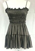 Joie Silk Polka Dot Tank Top Brown Cream Lace Trim Ruffle Tiered Babydoll Size S