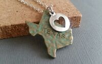 Texas necklace, state, silver heart, bronze patina, silvertone