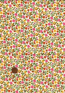 100% Cotton Fabric Vintage Pink Yellow Orange Green Small Floral Patchwork Craft