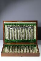 Antique Canteen Set 10 Fish Knives and Forks Hallmarked Silver Handles