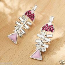New Woman Statement clear crystal Rhinestone long Ear Studs hoop earrings 1057