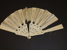 Beautiful Victorian Carved Silk Hand Fan as is