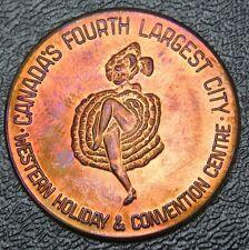 EDMONTON Capital of ALberta Medal - CAN-CAN Dancing GIRL - Copper - Beautiful