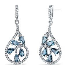 London Blue Topaz Dewdrop Earrings Sterling Silver 2.5 Carats