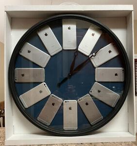 Beautiful Custom 22 Inch Blue Wall Clock made with iPhone 6 Model Housings